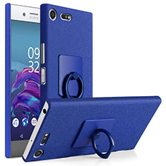 Funda Dura Plastico Rigida Fino Arenisca con Anillo de dedo Soporte para Sony Xperia XZ Premium Azul