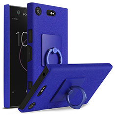 Funda Dura Plastico Rigida Fino Arenisca con Anillo de dedo Soporte para Sony Xperia XZ1 Compact Azul