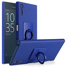 Funda Dura Plastico Rigida Fino Arenisca con Anillo de dedo Soporte para Sony Xperia XZs Azul