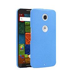 Funda Dura Plastico Rigida Fino Arenisca para Google Nexus 6 Azul