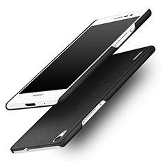 Funda Dura Plastico Rigida Fino Arenisca para Huawei Ascend P7 Negro