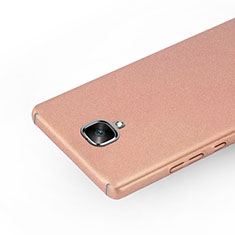 Funda Dura Plastico Rigida Fino Arenisca para OnePlus 3 Oro Rosa