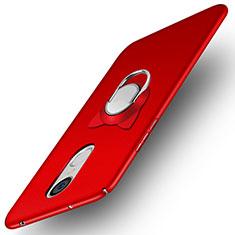 Funda Dura Plastico Rigida Mate con Anillo de dedo Soporte A02 para Huawei Enjoy 6 Rojo