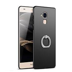 Funda Dura Plastico Rigida Mate con Anillo de dedo Soporte A03 para Huawei Honor 5C Negro