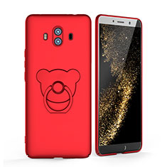 Funda Dura Plastico Rigida Mate con Anillo de dedo Soporte A03 para Huawei Mate 10 Rojo