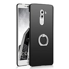 Funda Dura Plastico Rigida Mate con Anillo de dedo Soporte A03 para Huawei Mate 9 Lite Negro