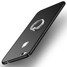 Funda Dura Plastico Rigida Mate con Anillo de dedo Soporte A03 para Huawei P8 Lite (2017) Negro