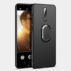 Funda Dura Plastico Rigida Mate con Anillo de dedo Soporte A03 para Huawei Rhone Negro