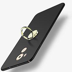 Funda Dura Plastico Rigida Mate con Anillo de dedo Soporte A04 para Huawei Mate 8 Negro