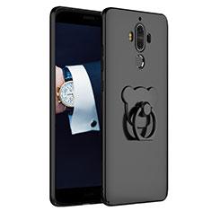 Funda Dura Plastico Rigida Mate con Anillo de dedo Soporte A04 para Huawei Mate 9 Negro