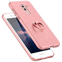 Funda Dura Plastico Rigida Mate con Anillo de dedo Soporte A06 para Huawei Mate 9 Lite Rosa