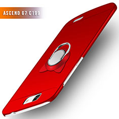 Funda Dura Plastico Rigida Mate con Anillo de dedo Soporte para Huawei Ascend G7 Rojo