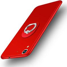 Funda Dura Plastico Rigida Mate con Anillo de dedo Soporte para Huawei Honor 4A Rojo