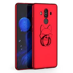 Funda Dura Plastico Rigida Mate con Anillo de dedo Soporte para Huawei Mate 10 Pro Rojo