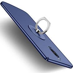 Funda Dura Plastico Rigida Mate con Anillo de dedo Soporte para Huawei Mate 9 Pro Azul