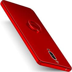 Funda Dura Plastico Rigida Mate con Anillo de dedo Soporte para Huawei Mate 9 Pro Rojo