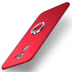 Funda Dura Plastico Rigida Mate con Anillo de dedo Soporte para Huawei Mate S Rojo