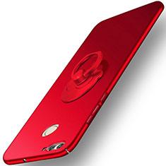 Funda Dura Plastico Rigida Mate con Anillo de dedo Soporte para Huawei Nova 2 Plus Rojo
