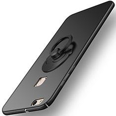 Funda Dura Plastico Rigida Mate con Anillo de dedo Soporte para Huawei P10 Lite Negro