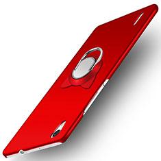 Funda Dura Plastico Rigida Mate con Anillo de dedo Soporte para Huawei P7 Dual SIM Rojo