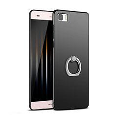 Funda Dura Plastico Rigida Mate con Anillo de dedo Soporte para Huawei P8 Lite Negro