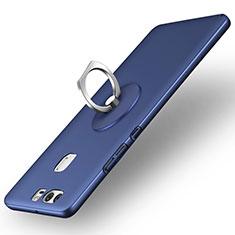 Funda Dura Plastico Rigida Mate con Anillo de dedo Soporte para Huawei P9 Plus Azul
