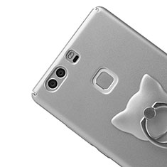 Funda Dura Plastico Rigida Mate con Anillo de dedo Soporte para Huawei P9 Plus Plata