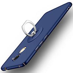 Funda Dura Plastico Rigida Mate con Anillo de dedo Soporte para Huawei Y7 Prime Azul