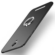 Funda Dura Plastico Rigida Mate con Anillo de dedo Soporte para Xiaomi Redmi Note 2 Negro
