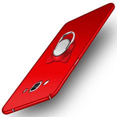 Funda Dura Plastico Rigida Mate con Magnetico Anillo de dedo Soporte para Samsung Galaxy J3 Pro (2016) J3110 Rojo