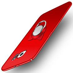 Funda Dura Plastico Rigida Mate con Magnetico Anillo de dedo Soporte para Samsung Galaxy S6 Duos SM-G920F G9200 Rojo