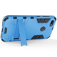 Funda Dura Plastico Rigida Mate con Soporte para Huawei Enjoy 7 Azul
