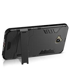 Funda Dura Plastico Rigida Mate con Soporte para Huawei Y6 Pro Negro