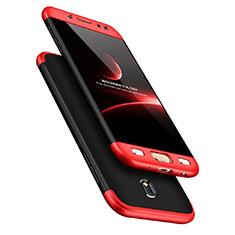 Funda Dura Plastico Rigida Mate Frontal y Trasera 360 Grados para Samsung Galaxy J7 Pro Rojo y Negro