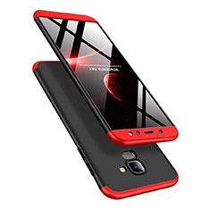 Funda Dura Plastico Rigida Mate Frontal y Trasera 360 Grados Q01 para Samsung Galaxy A6 (2018) Dual SIM Rojo y Negro