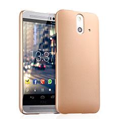 Funda Dura Plastico Rigida Mate para HTC One E8 Oro