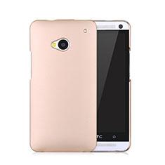 Funda Dura Plastico Rigida Mate para HTC One M7 Oro