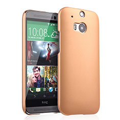 Funda Dura Plastico Rigida Mate para HTC One M8 Oro
