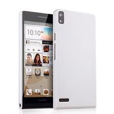 Funda Dura Plastico Rigida Mate para Huawei Ascend P6 Blanco