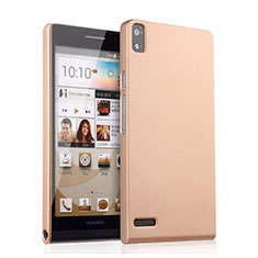 Funda Dura Plastico Rigida Mate para Huawei Ascend P6 Oro
