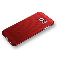 Funda Dura Plastico Rigida Perforada para Samsung Galaxy S6 Edge SM-G925 Rojo