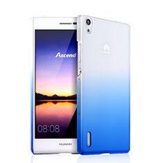 Funda Dura Plastico Rigida Transparente Gradient para Huawei Ascend P7 Azul
