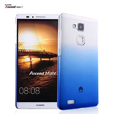 Funda Dura Plastico Rigida Transparente Gradient para Huawei Mate 7 Azul