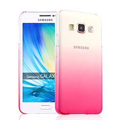 Funda Dura Plastico Rigida Transparente Gradient para Samsung Galaxy A3 Duos SM-A300F Rosa