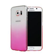 Funda Dura Plastico Rigida Transparente Gradient para Samsung Galaxy S6 Duos SM-G920F G9200 Rosa