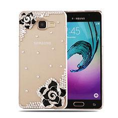 Funda Dura Rigida Lujo Diamante Brillante Flores para Samsung Galaxy A5 (2016) SM-A510F Negro