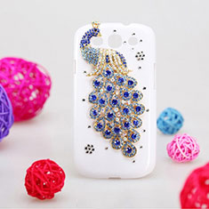 Funda Dura Rigida Lujo Diamante Brillante Pavo real para Samsung Galaxy S3 4G i9305 Azul