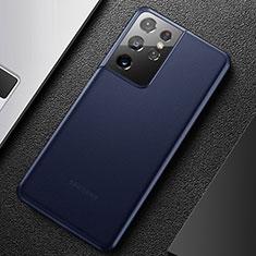 Funda Dura Ultrafina Carcasa Transparente Mate U01 para Samsung Galaxy S21 Ultra 5G Azul