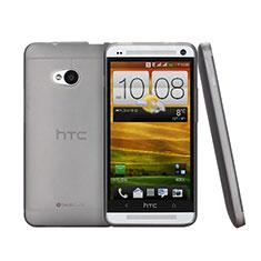 Funda Dura Ultrafina Transparente Mate para HTC One M7 Gris
