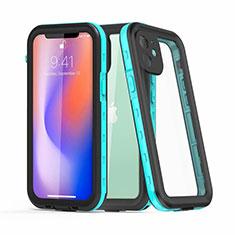 Funda Impermeable Bumper Silicona y Plastico Waterproof Carcasa 360 Grados para Apple iPhone 12 Cian